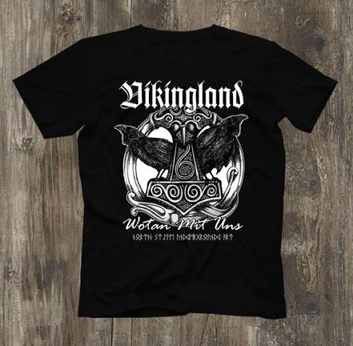 Männer T-Shirt Vikingland - Wotan mit uns Schwarz